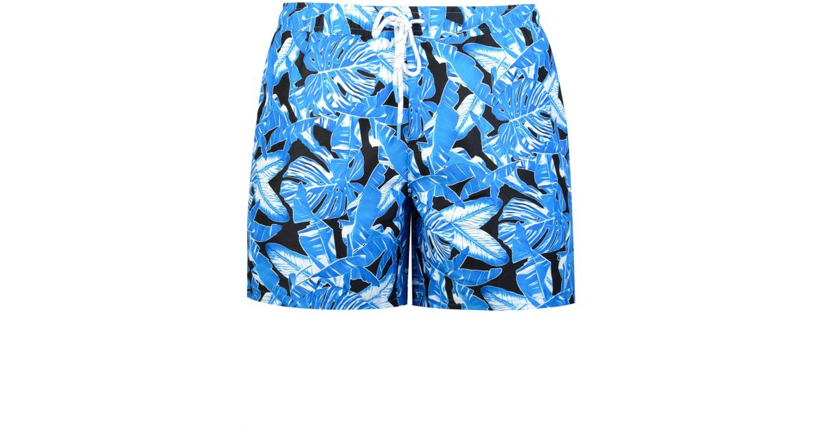 8a2f85c282 BOSS Hugo Barracuda Print Swim Shorts in Blue for Men - Lyst
