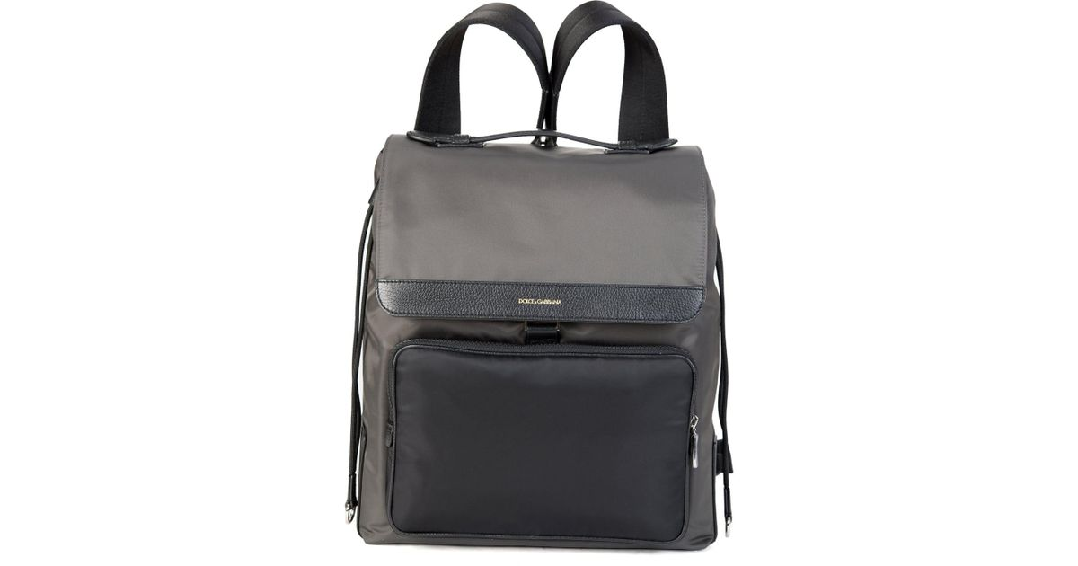 af2a245a79 Dolce   Gabbana Mixed Material Backpack Grey in Gray for Men - Lyst
