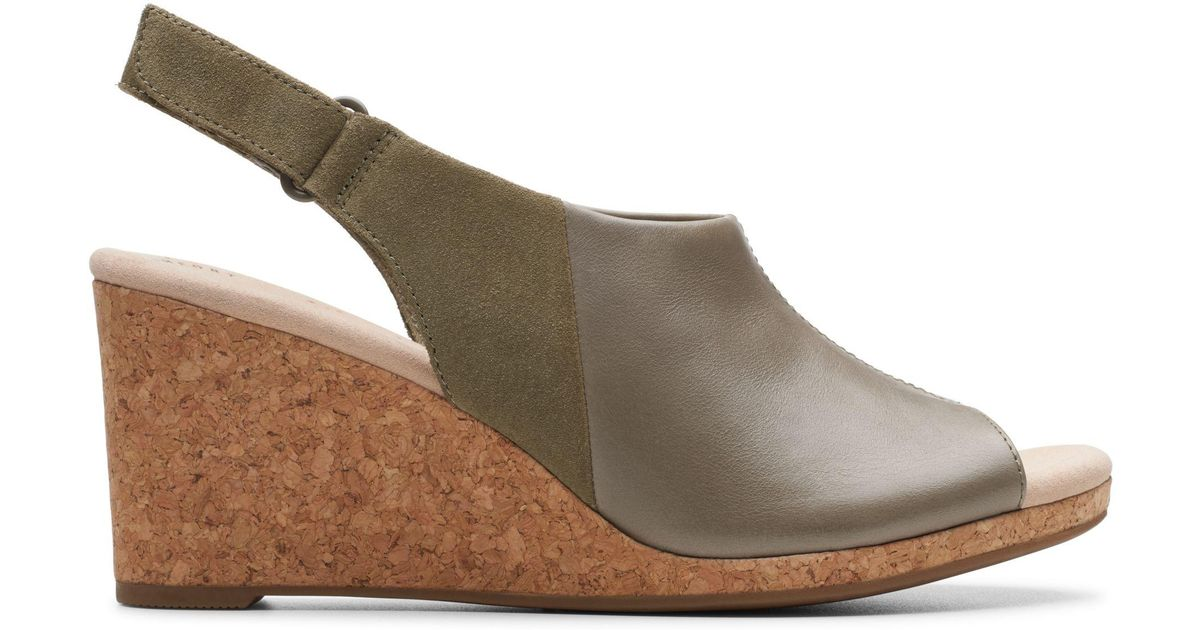 4a688b838cf Lyst - Clarks Lafely Jess Wedge Sandals in Green - Save 12%