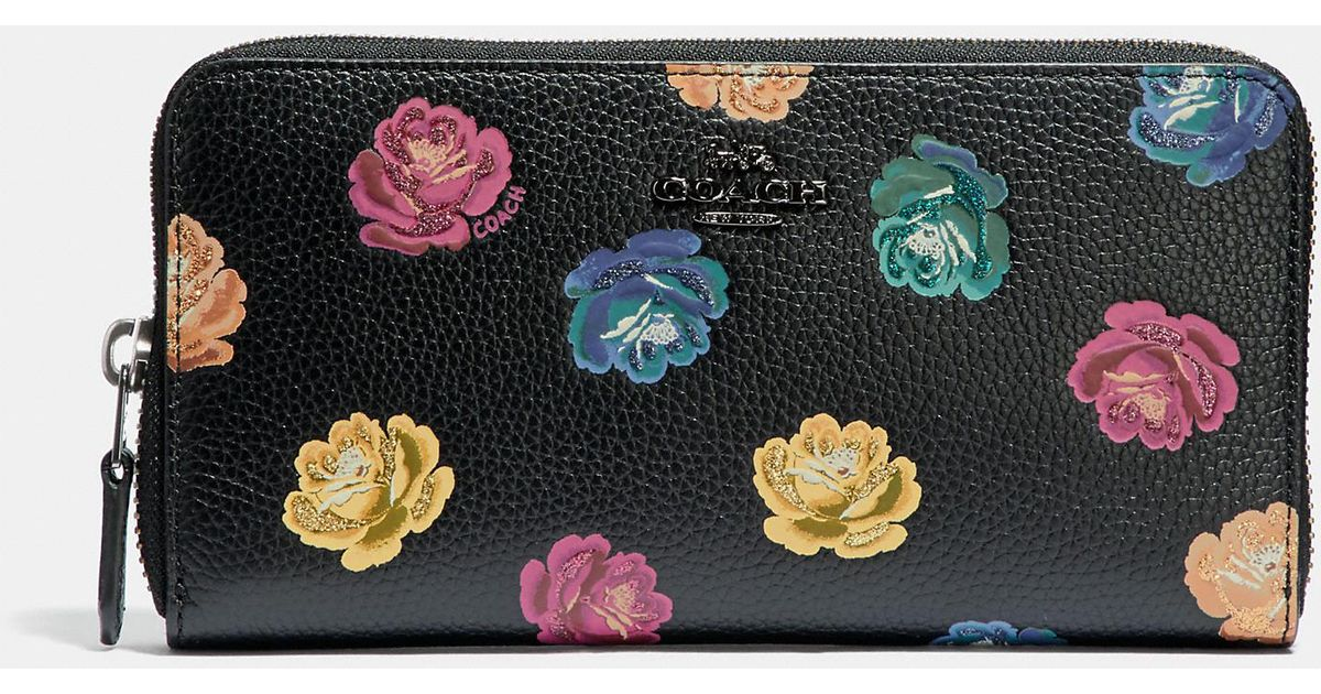 Lyst - COACH Accordion Zip Wallet With Rainbow Rose Print 5042d31321
