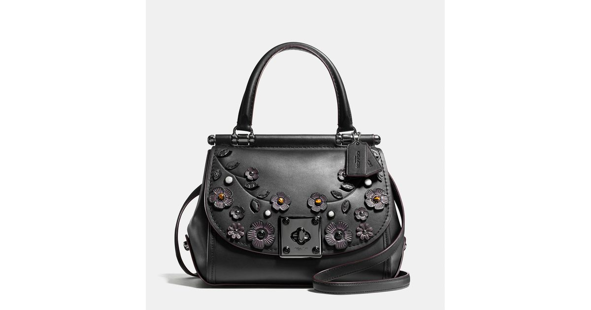 Lyst coach drifter top handle satchel with willow floral applique