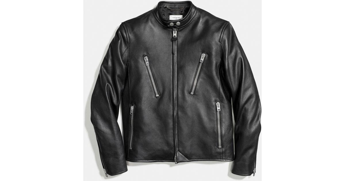 Coach Leather Racer Jacket In Black For Men Lyst