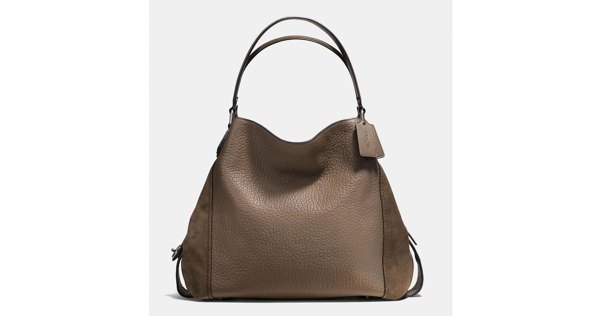 57d72e04c367 Lyst - COACH Edie Shoulder Bag 42 In Mixed Leathers in Brown