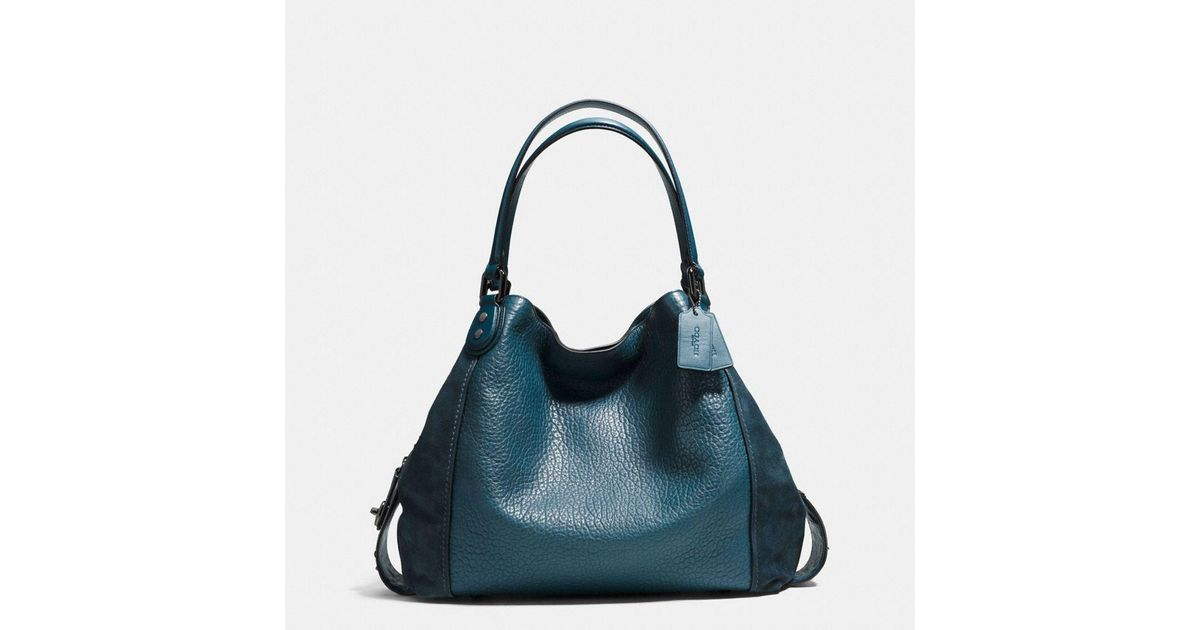 f55c79c4137b Lyst - COACH Edie Shoulder Bag 42 In Mixed Leathers With Star Rivets in Blue