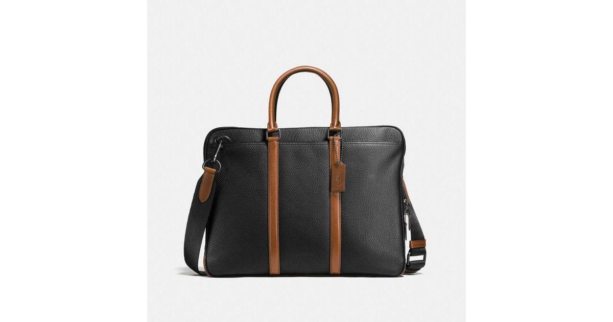62f7e0bd5 COACH Metropolitan Slim Brief In Material Block Leather in Black - Lyst