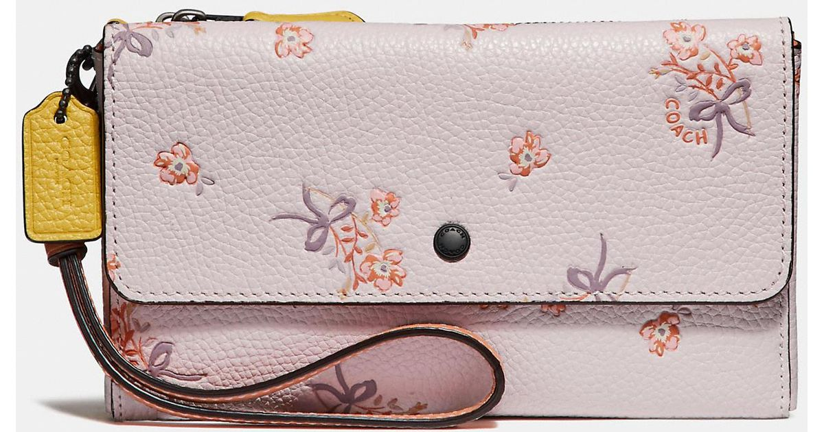 eb92fc1b25894 COACH Triple Small Wallet In Colorblock With Floral Bow Print in Pink - Lyst