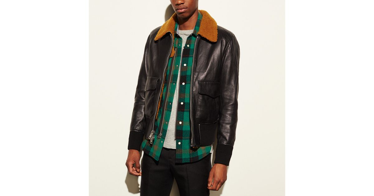 281cca24a47 Coach Washed Leather Aviator Bomber Jacket