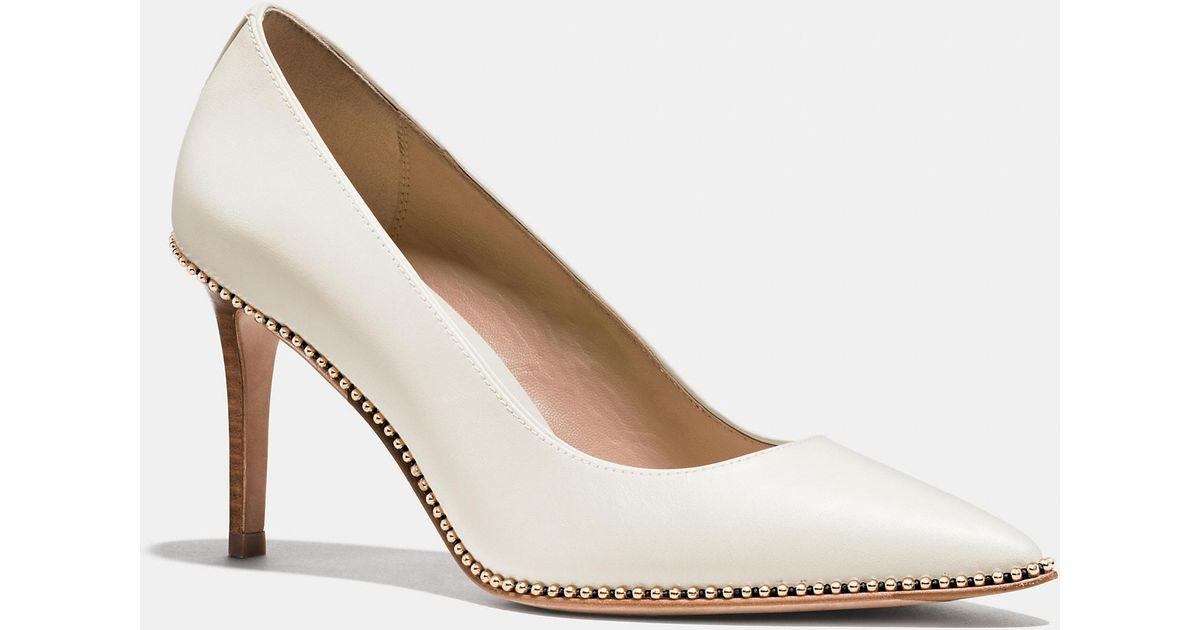 fba53033230d Lyst - COACH Smith Beadchain Heel in White