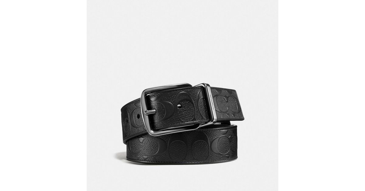 c5b5a8f15a674 Lyst - Coach Wide Harness Cut-to-size Reversible Belt in Black