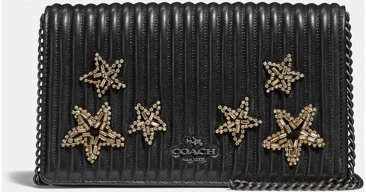 a6d1b83b6115 Lyst - COACH Callie Foldover Chain Clutch With Quilting And Crystal  Embellishment in Black