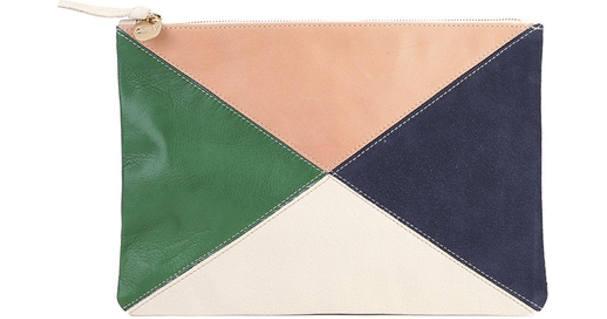 Clare V Women S Supreme Patchwork X Flat Clutch Bag In