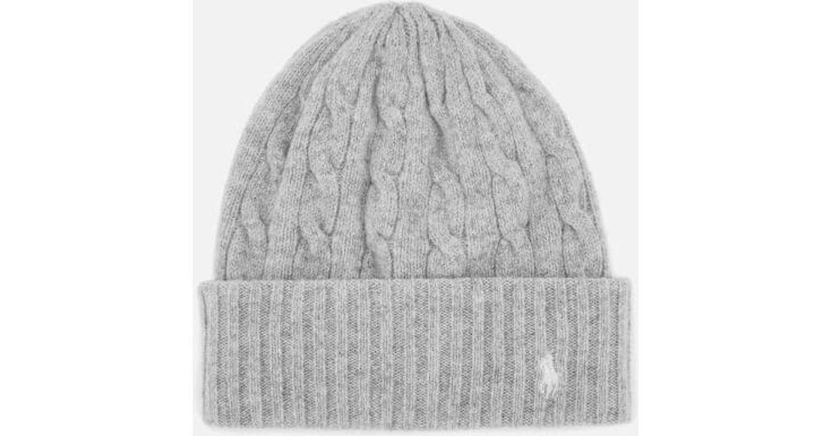 Lyst - Polo Ralph Lauren Women s Wool Hat in Gray e2f8e240de4