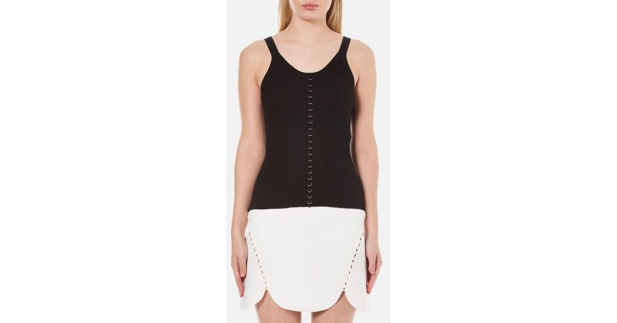 ebd96cfc710a2 Lyst - Alexander Wang Women's Ribbed Centre Front Piercing Tank Top in Black