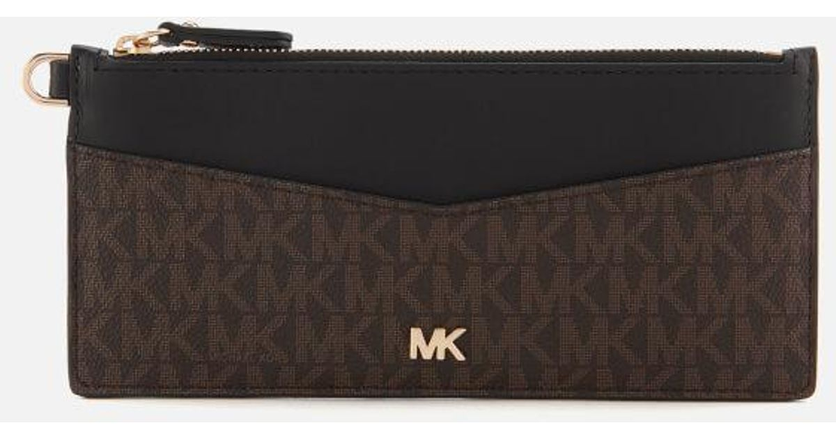 sale retailer 6dd34 7dcf6 MICHAEL Michael Kors Brown Women's Money Pieces Slim Chain Card Case