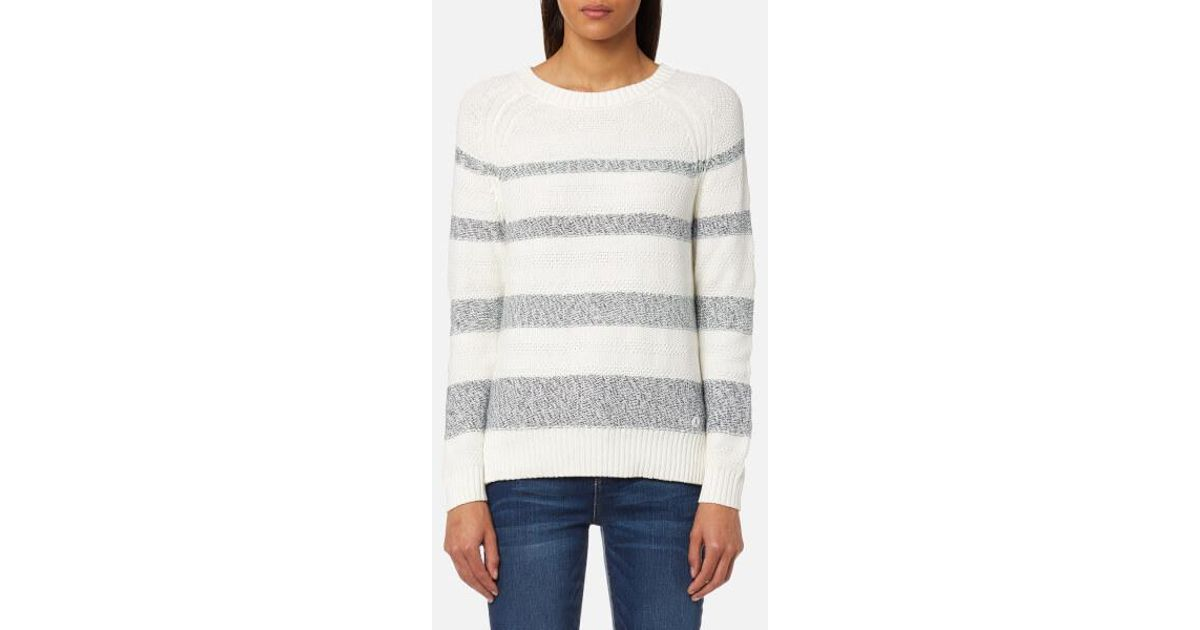 d5c4756291e287 Barbour Women's Faeroe Knit Jumper in White - Lyst