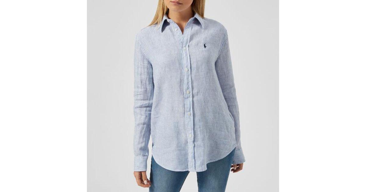 d15450df1 Polo Ralph Lauren Women s Logo Striped Linen Shirt in Blue - Lyst