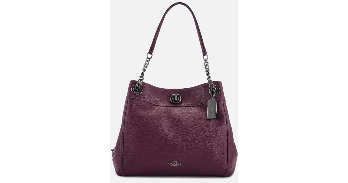 8cff88814 COACH Polished Pebble Leather Turnlock Edie Shoulder Bag in Purple - Save  60% - Lyst