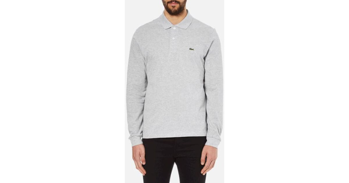 87c99bc44af67f Lyst - Lacoste Men s Long Sleeve Marl Polo Shirt in Gray for Men
