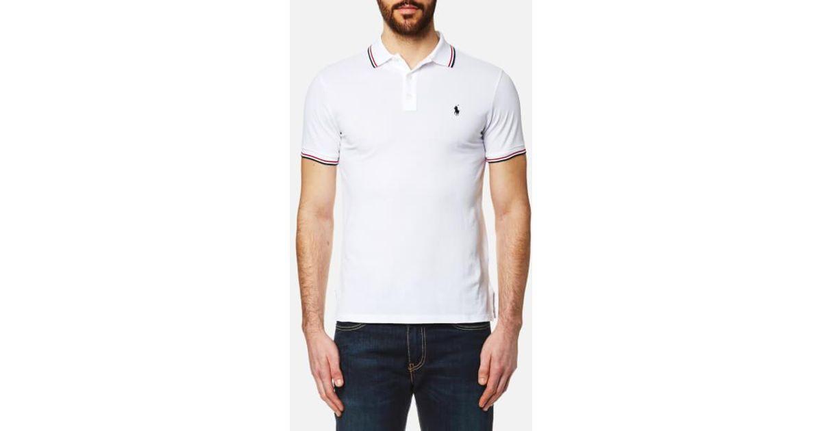 Polo Ralph Lauren Men s Tipped Polo Shirt in White for Men - Lyst ea7b80814f66