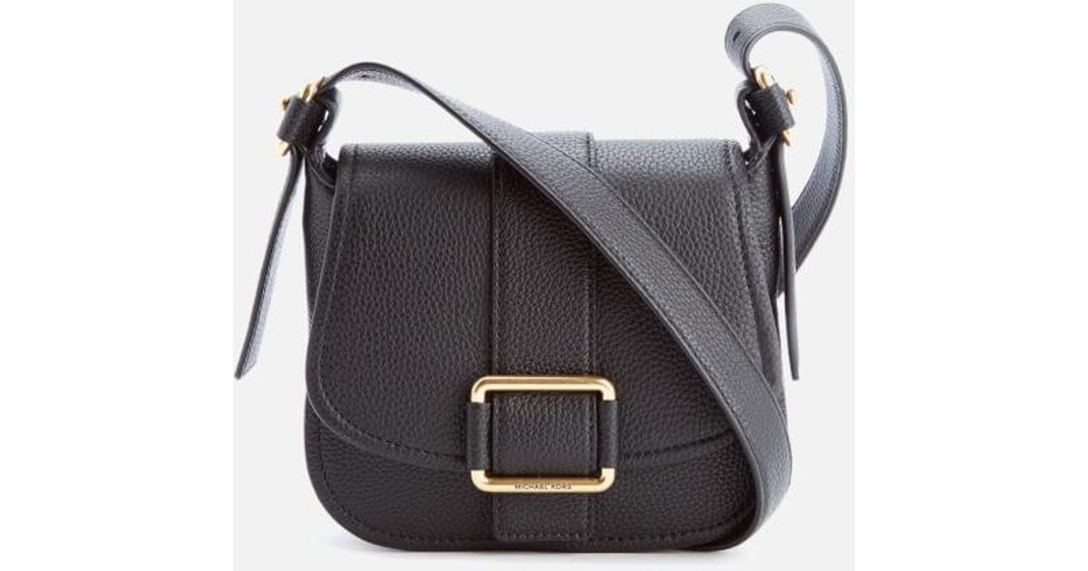 37ed99889e47 Lyst - Michael Michael Kors Women s Maxine Mid Saddle Bag in Black