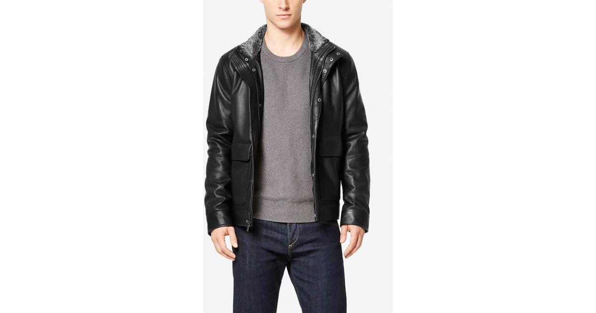 ace65702c3 Cole Haan Men's Leather Aviator Jacket - Bitterroot Public Library