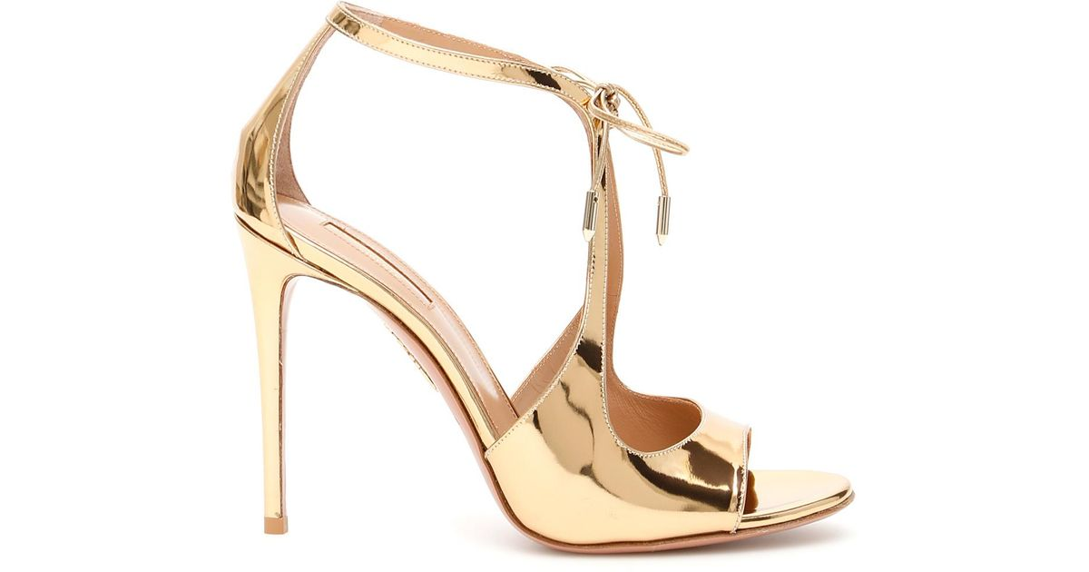 127cf628c Aquazzura Oscar 105 Sandals in Metallic - Lyst