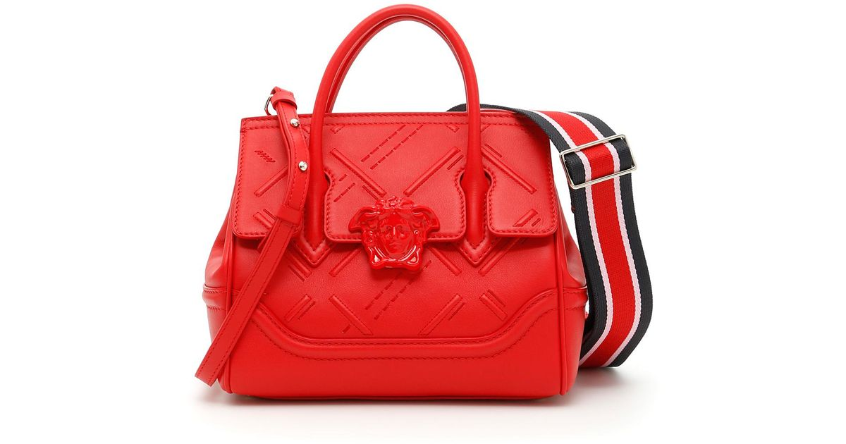f30bd8a06f92 Lyst - Versace Embroidered Palazzo Empire Bag in Red