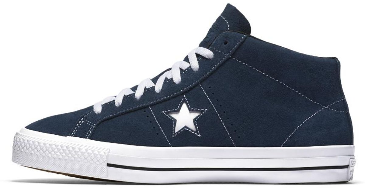 8bb519c3d72784 ... white black 10 mens 12 8a318 daf5f czech lyst converse cons one star  pro suede mid top mens skateboarding shoe in blue for ...