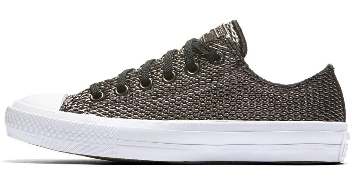 Lyst - Converse Chuck Ii Perforated Metallic Low Top Women s Shoe in Black ab7170a53