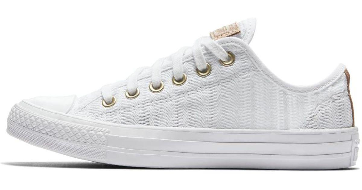 Lyst - Converse Chuck Taylor All Star Herringbone Mesh Low Top Women s Shoe  in White 2ca8abe01