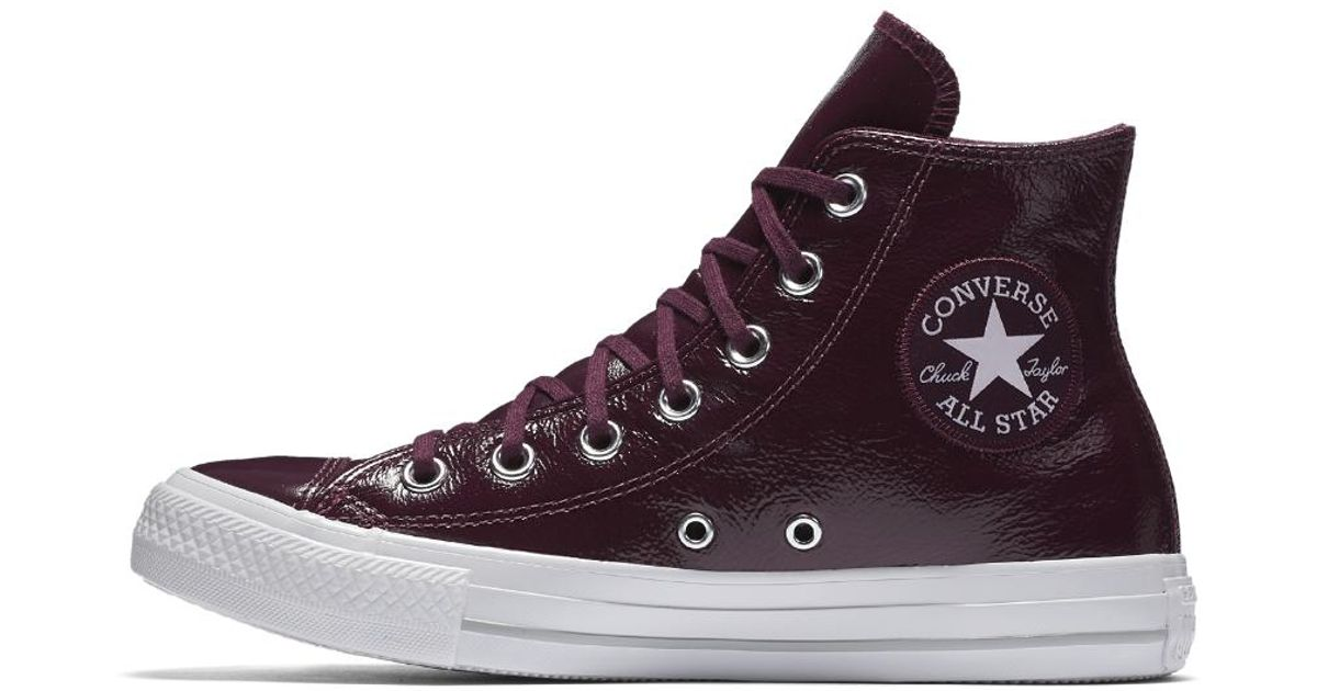 2a0e0c30a392 Converse Chuck Taylor All Star Crinkled Patent Leather High Top Women's  Shoe in Red - Lyst