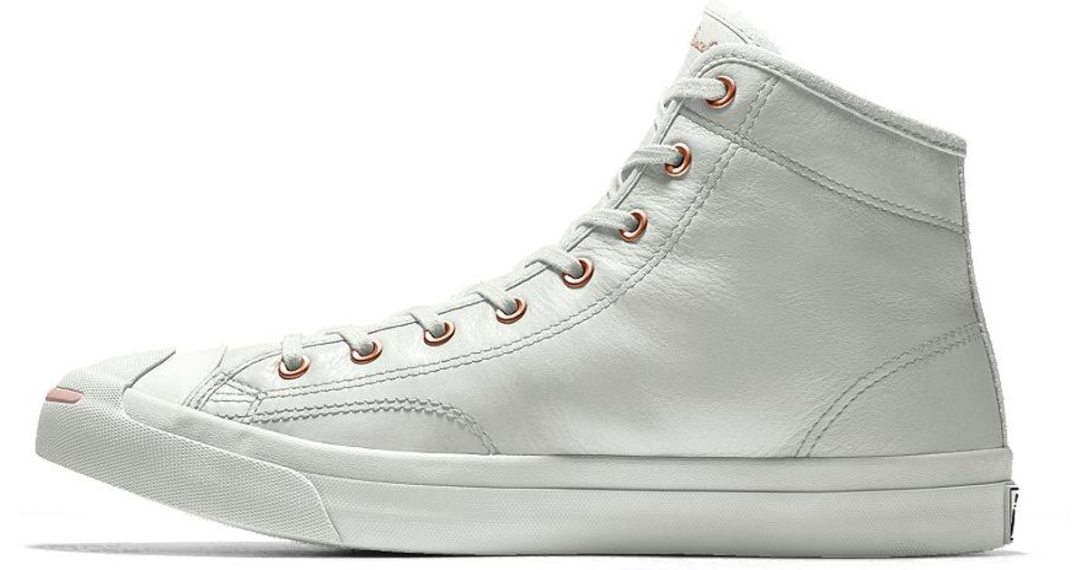 54af721f756e Lyst - Converse Custom Jack Purcell Premium Leather Mid Top Shoe in White  for Men