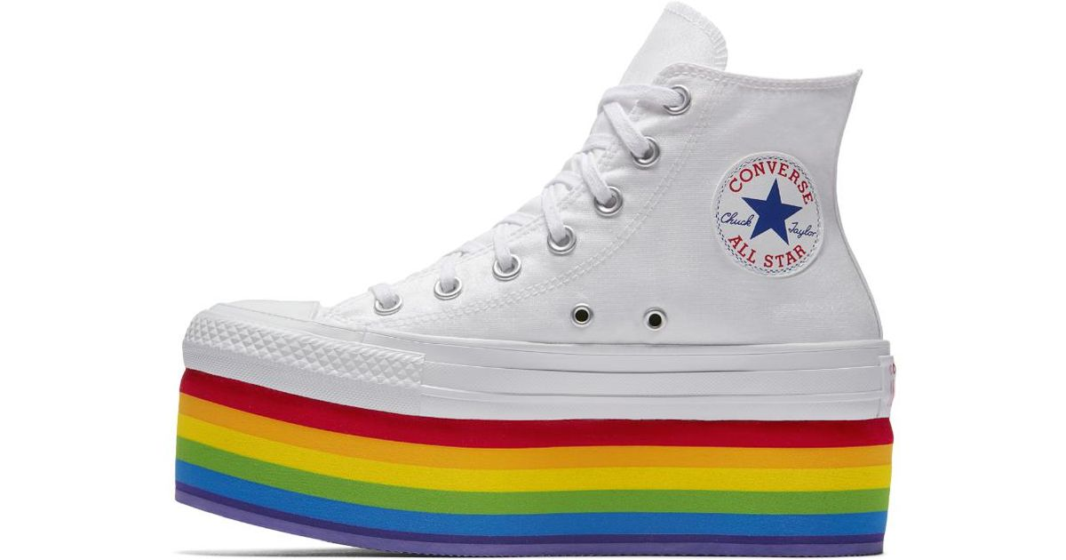 c8876cc6176 Lyst - Converse Pride X Miley Cyrus Chuck Taylor All Star Platform High Top  Shoe in Metallic