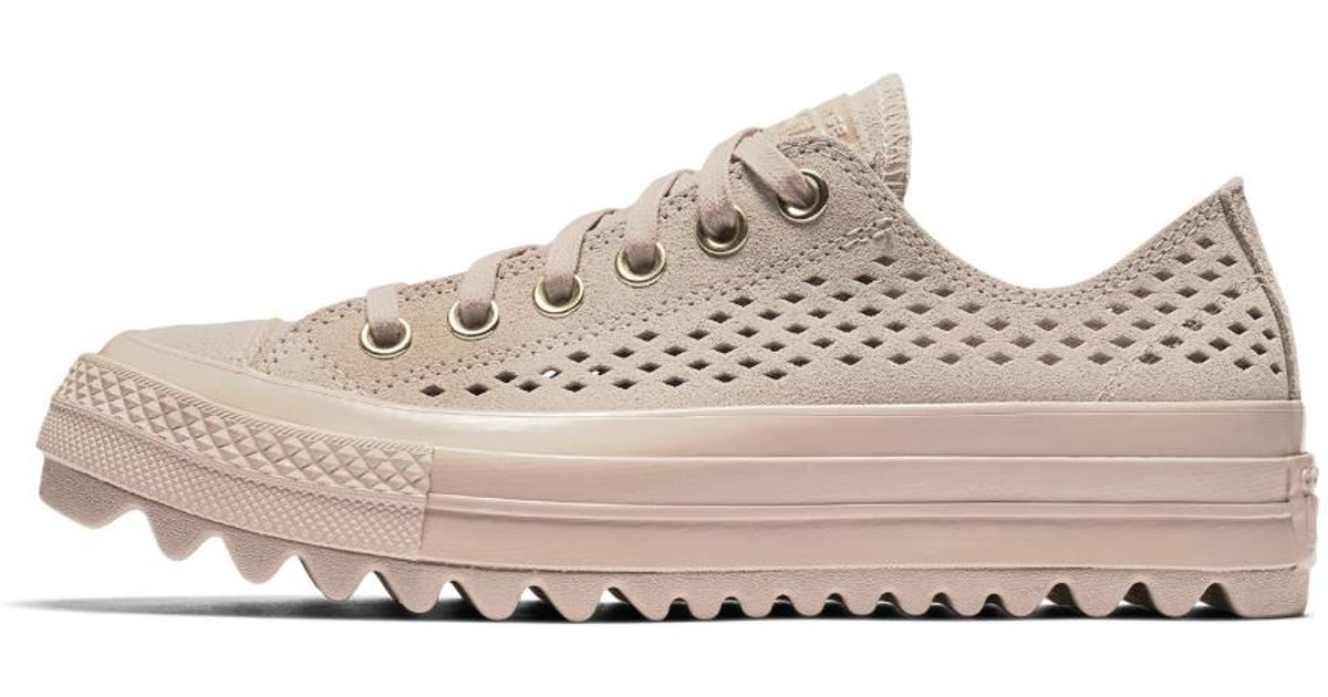 9ece62a2f1bb Lyst - Converse Chuck Taylor All Star Lift Ripple Perforated Suede Low Top  Women s Shoe in Natural