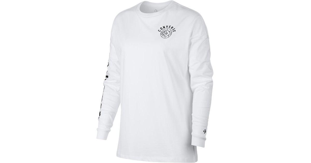 b0f22280ddcb Lyst - Converse Street Sport Women s Long Sleeve T-shirt in White