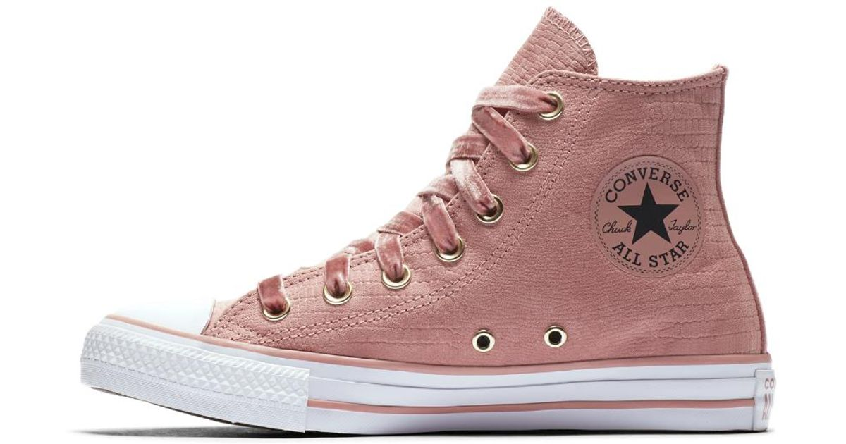 81cf23b0e1ae4c Lyst - Converse Chuck Taylor All Star Gator Glam High Top Women s Shoe in  Pink