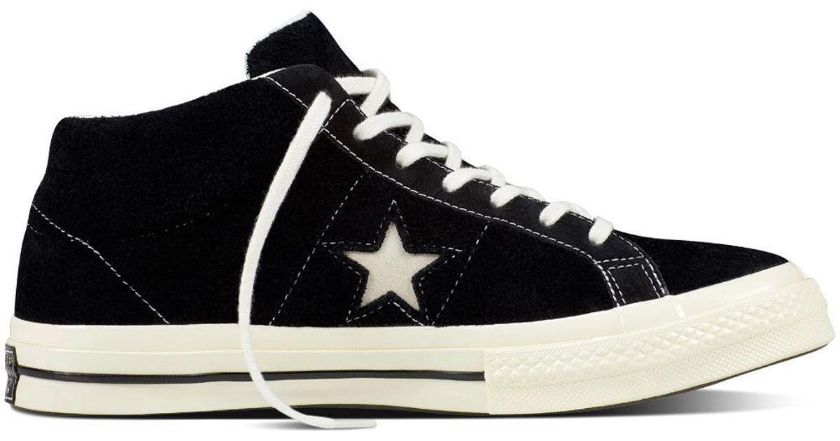 24557723efcc Converse One Star Mid Vintage Suede in Black - Lyst