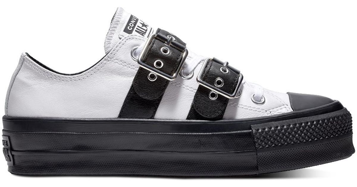65e6ef5f0dd Converse Chuck Taylor All Star Lift Buckle Leather Low Top in White - Lyst