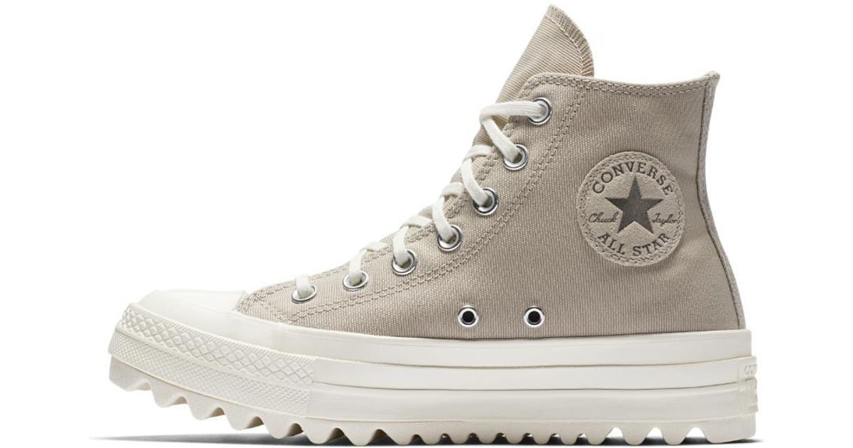 21002a6b2cca Lyst - Converse Chuck Taylor All Star Lift Ripple Precious Metal High Top Women s  Shoe in Brown