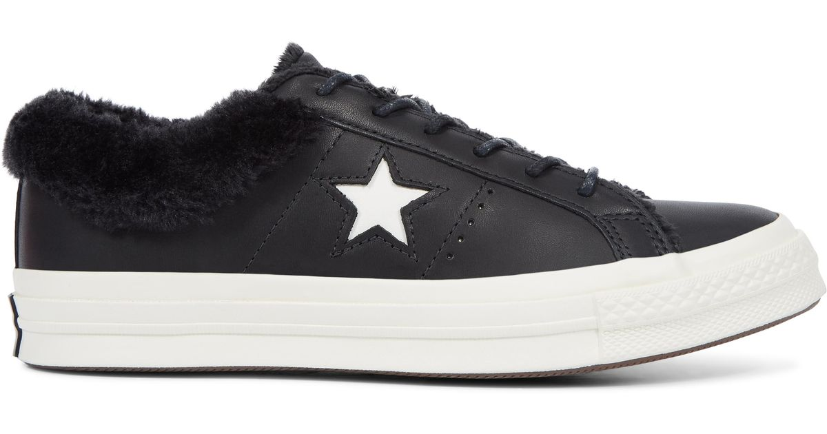 Converse One Star Street Warmer Leather Low Top in Black - Lyst 7055d148c