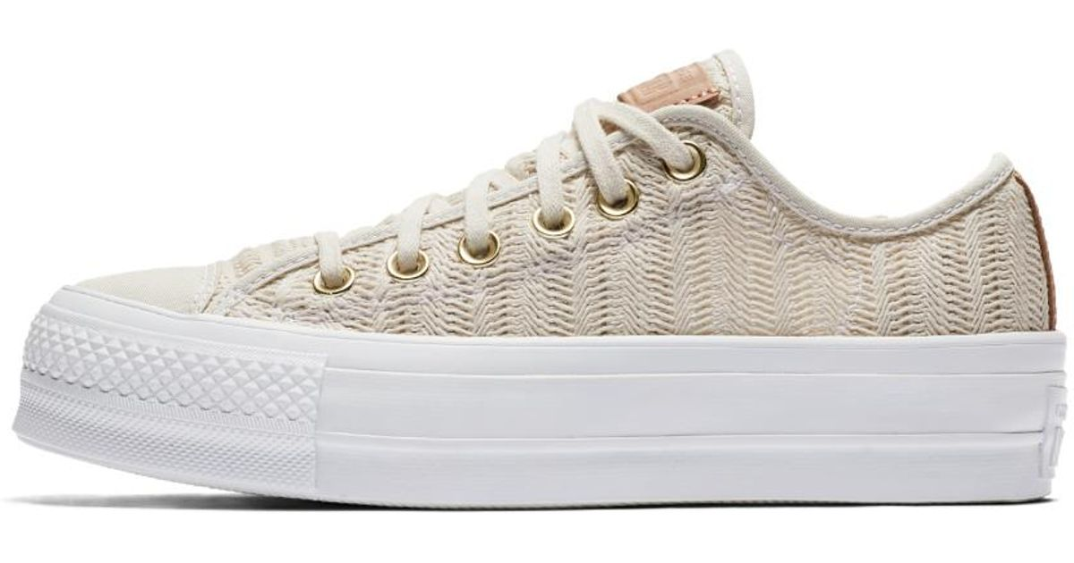 c4742f8ca030 Lyst - Converse Chuck Taylor All Star Lift Herringbone Mesh Low Top Women s  Shoe in White