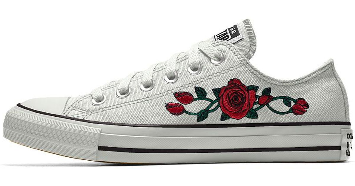 235c5c1d74f4 Lyst - Converse Custom Chuck Taylor All Star Rose Embroidery Low Top Shoe  in White