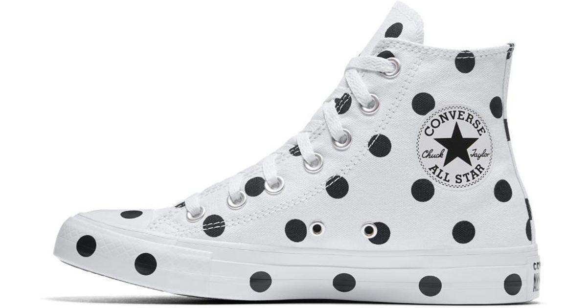 7701b69fb3c5 Lyst - Converse Chuck Taylor All Star Polka Dots High Top Women s Shoe in  White