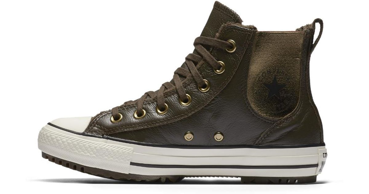 471af76cdbbd Lyst - Converse Chuck Taylor All Star Leather And Faux Fur Chelsee Women s  Boot in Brown