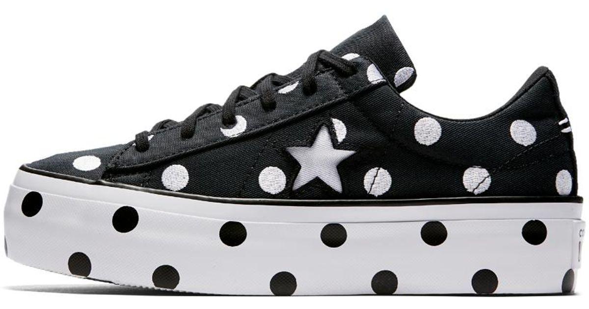 08fd42b1b10c Lyst - Converse One Star Polka Dot Platform Low Top Women s Shoe in Black