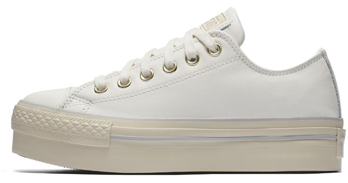 120232347d Lyst - Converse Chuck Taylor All Star Leather Platform Low Top Women s Shoe  in White