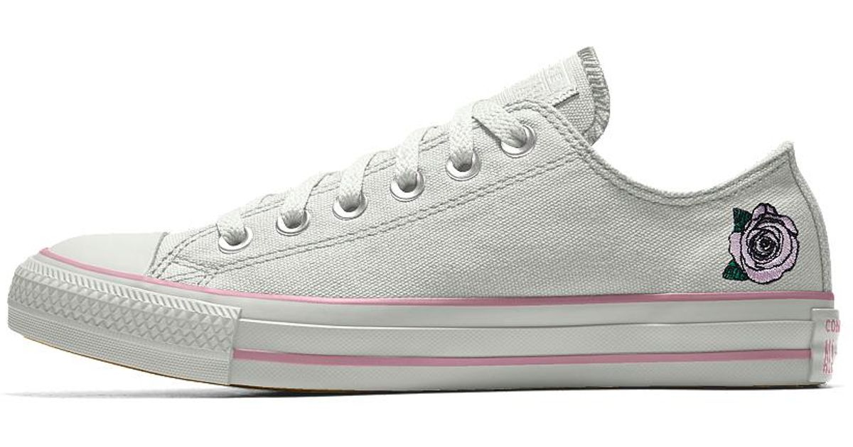 c2a4cea4c996 Lyst - Converse Custom Chuck Taylor All Star Rose Embroidery Low Top Shoe  in White for Men