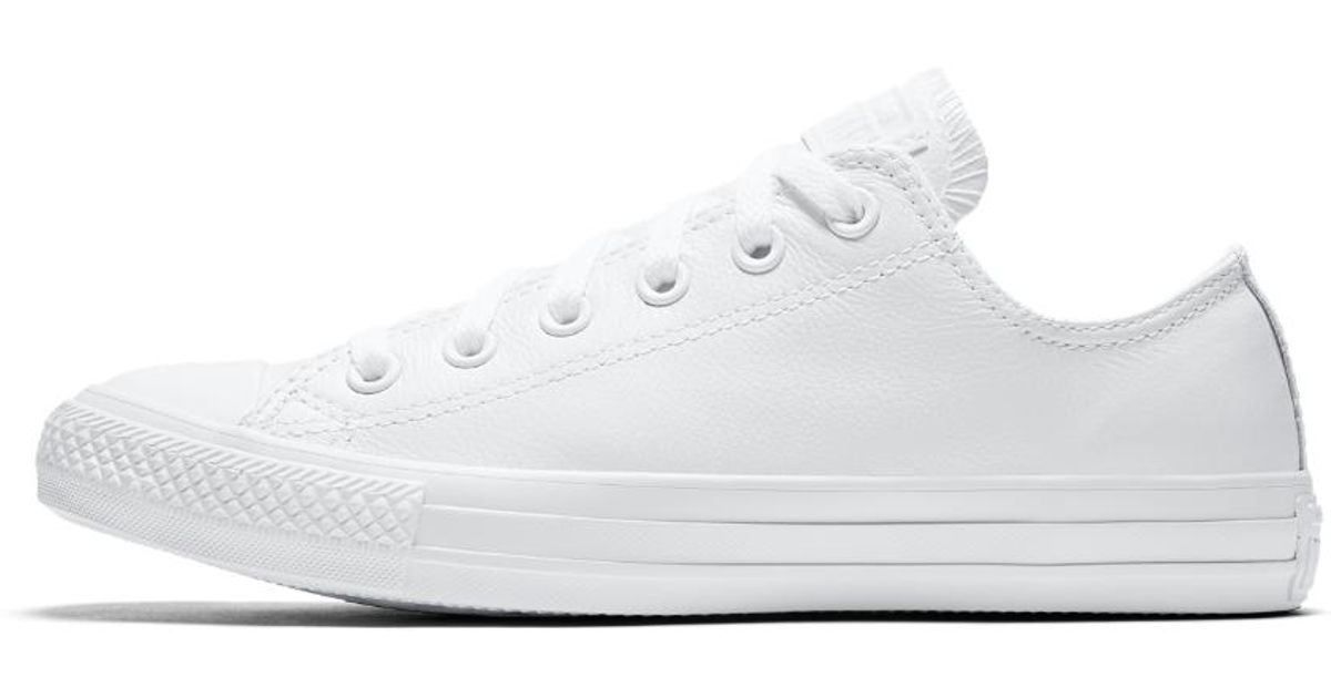 36d7846b8a6 Lyst - Converse Chuck Taylor All Star Mono Leather Low Top Shoe in White  converse chuck