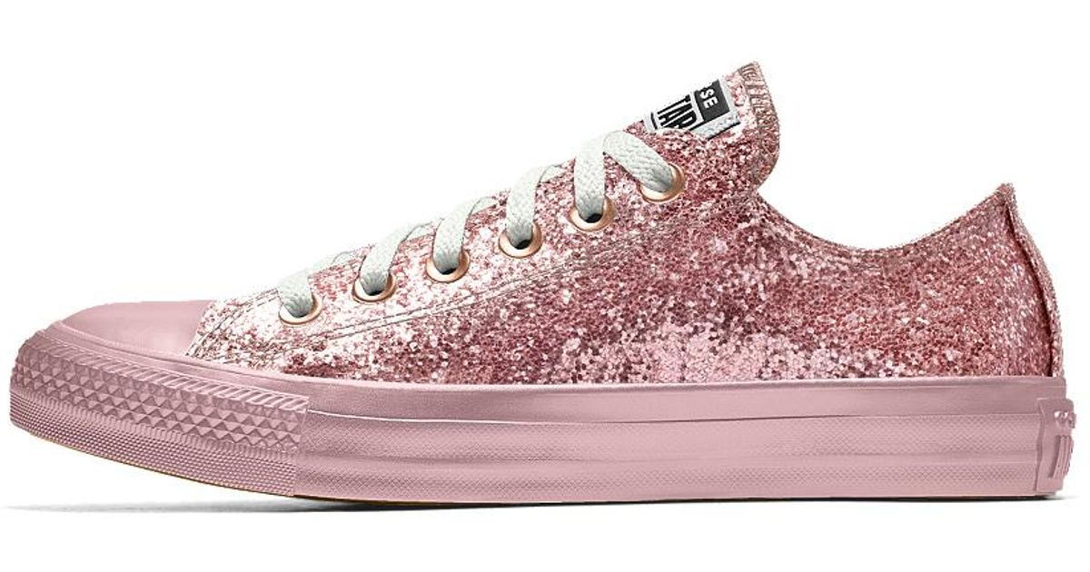 ea202875eae8 Lyst - Converse Custom Chuck Taylor All Star Glitter Low Top Shoe in Pink