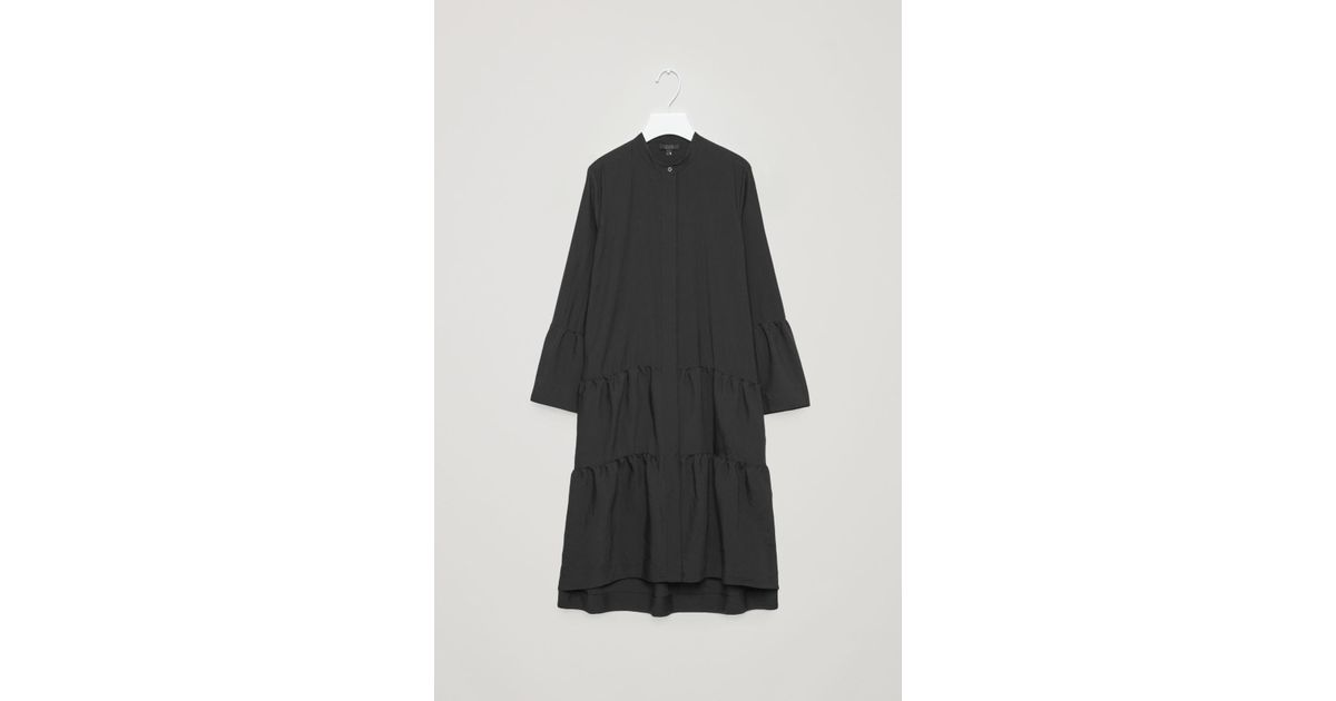 bcfbd7a4bdd1 COS Shirt Dress With Gathered Detail in Black - Lyst